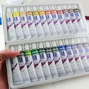 Image 3 - זיכרון צבעי אקריליק סט עבור ציור טקסטיל בד מניקור נייל אמנות עם 3 מברשות & 1 צבעים