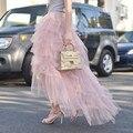 Модные High End Розовый Многоуровневое Длинные Тюль Юбки Для Красавица высокий Низкий Мода Юбка Форт Womem 2016 Летний Стиль Женская Одежда