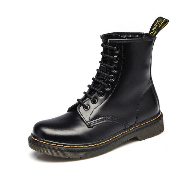 2019 New Top quality split Leather Women Boots Dr Martin boots shoes High Top Motorcycle Autumn Winter shoes woman snow Boots zapatillas de moda 2019 hombre