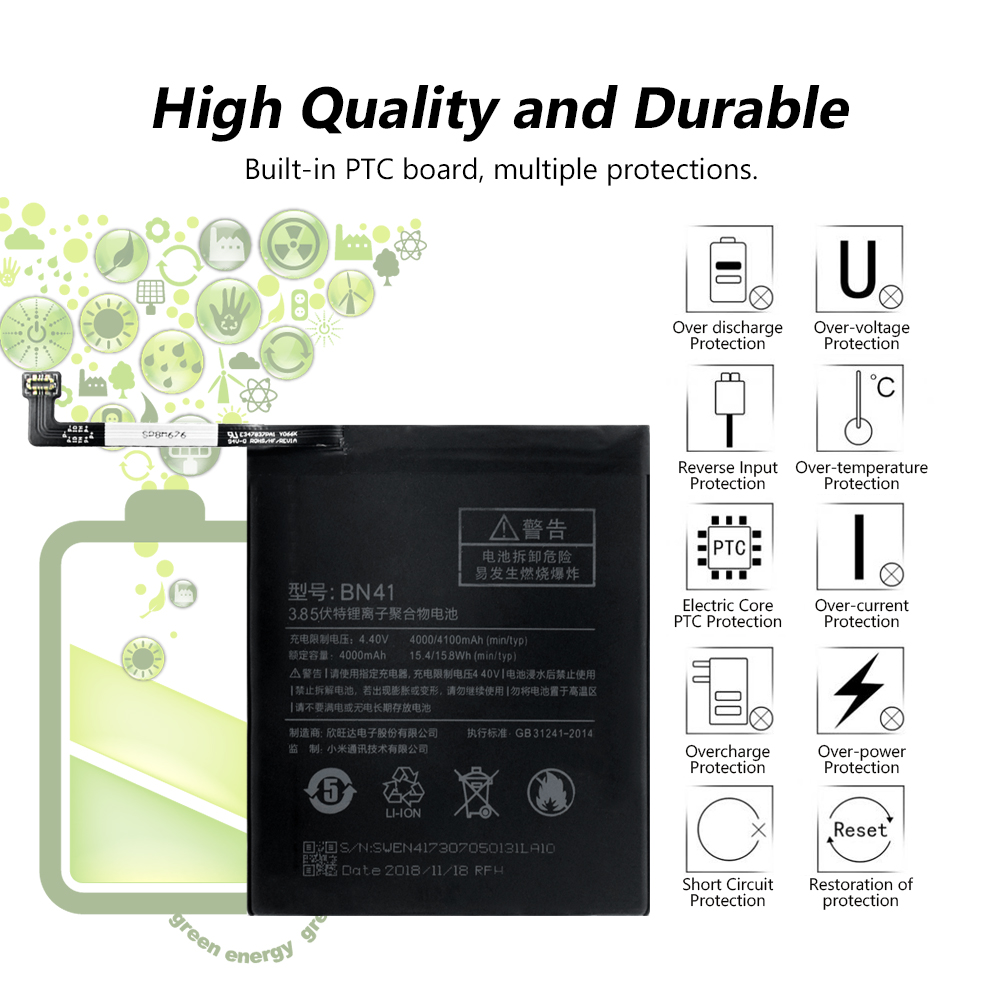 YCDC High Performance 3 85V 4100mAh Replacement Battery Phone Rechargeable Battery BN41 For Xiaomi Mi Redmi Note 4 in Mobile Phone Batteries from Cellphones Telecommunications