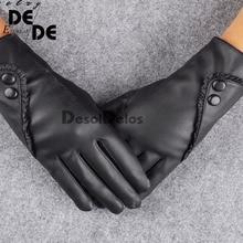 2019 Fashion Women christmas gloves warm Lady Soft Leather Gloves Winter Warm Mitten Xmas Gift Black Mittens.