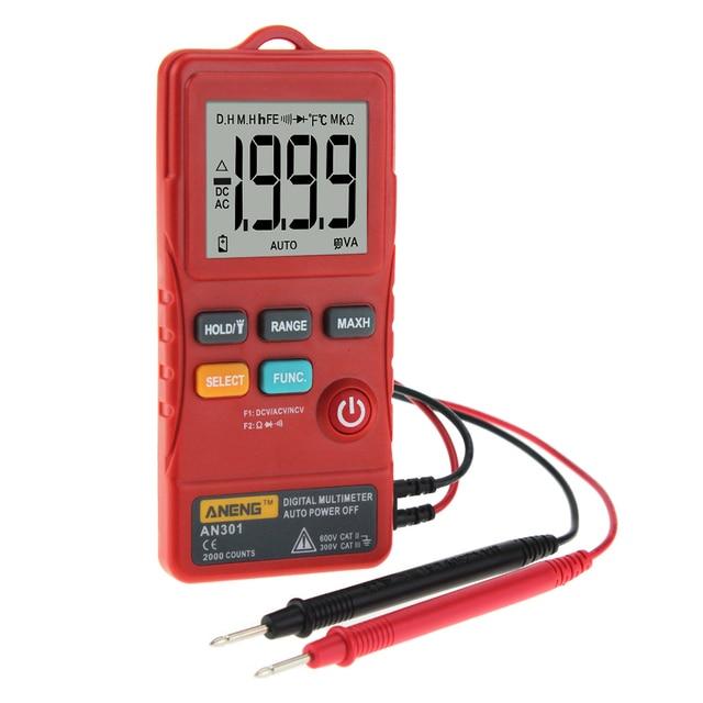 1999 cuentas Mini multímetro Digital portátil AC DC voltímetro resistencia amperímetro probador con luz LED