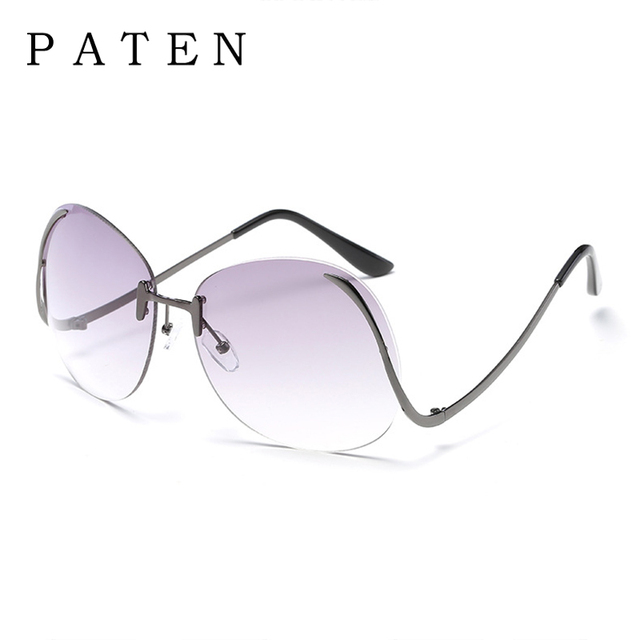 9bb6bd6e9d New Round Oversized Rimless Sunglasses Women Fashion lady Summer Style  Glasses Color Clear Lens Alloy UV400 Oculos De sol Gafas