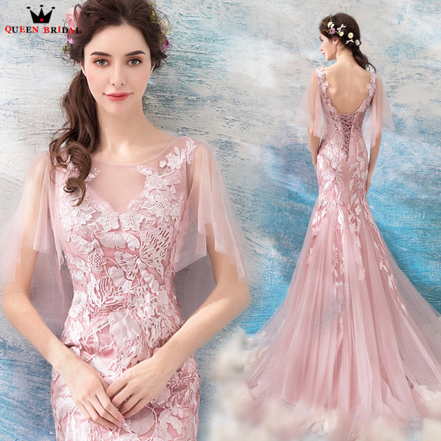 Mermaid Backless Tulle Lace Appliques Pink Sexy Elegant Evening Dresses  2018 New Arrival Party Prom Dress Evening Gowns WS42M 3da84c71fdf3