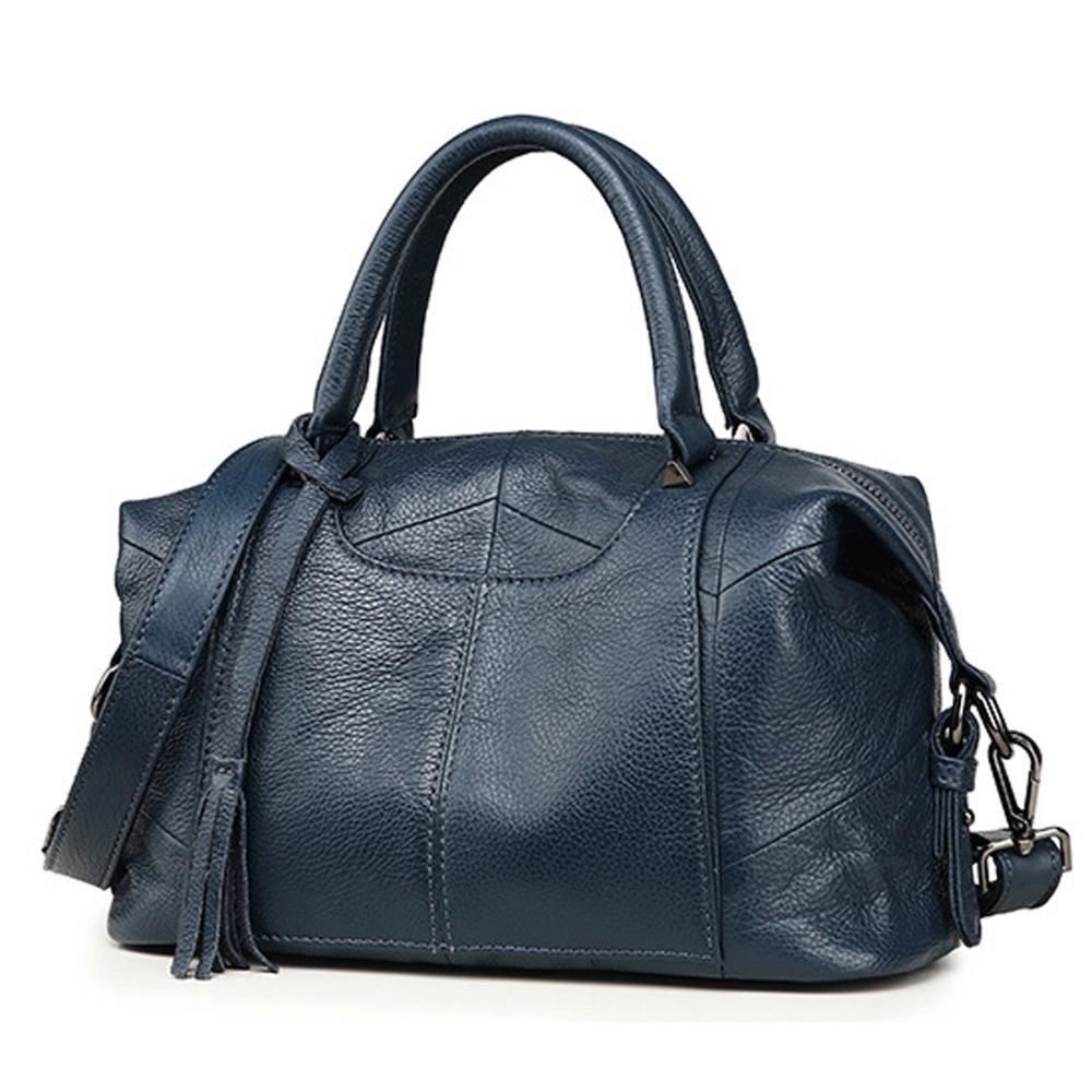 Nuevo 100% bolso de cuero genuino para mujeres grandes bolsos de cuero de vaca bolsos de mano para mujeres grandes bolso de hombro bolso de mensajero-in Cubos from Maletas y bolsas    2