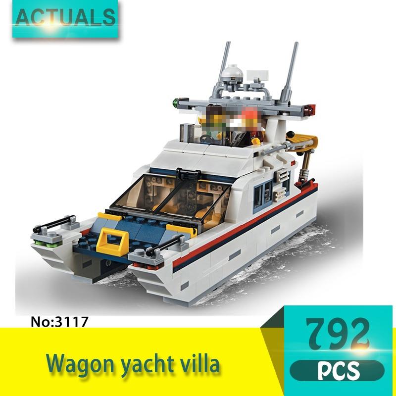 купить Decool 3117 792Pcs Tourism series Wagon yacht villa Model Building Blocks Bricks Toys For Children Gift недорого