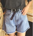 Verano de La Vendimia Rollo Edage Shorts Mujeres De Talle Alto Denim Causal Solid Loose Hot Short Jeans Azul de La Manera Coreana 2016