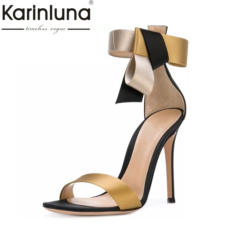 Karinluna 2018 Top Quality Large Size 33-43 Summer Shoes Sandals Sexy High Heels Party Banquet Mixed Colors Women Shoes Woman karinluna 2018 large size 31 43 fashion ruffles women shoes sandals fashion wedges high heels party summer shoes woman
