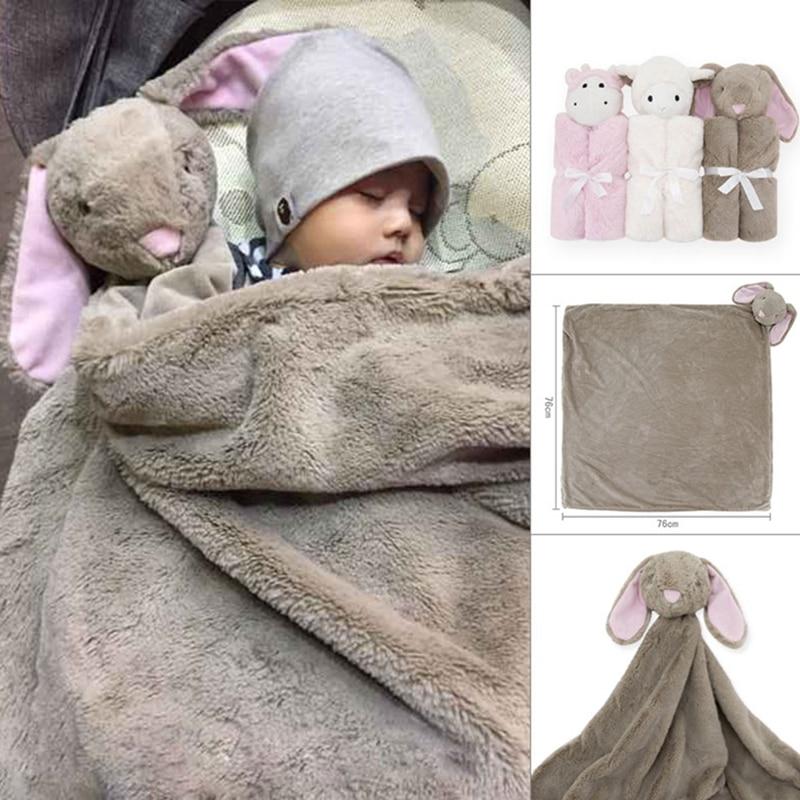 Babies swaddle Winter baby blanket birthday gift for newborn soft warm coral fleece plush animal toy head 76x76cm kids Sleeping