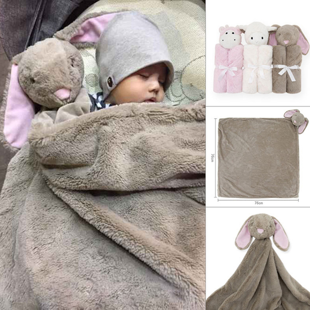 Babies swaddle Winter baby blanket birthday gift for newborn soft warm coral fleece plush animal toy head 76x76cm kids Sleeping