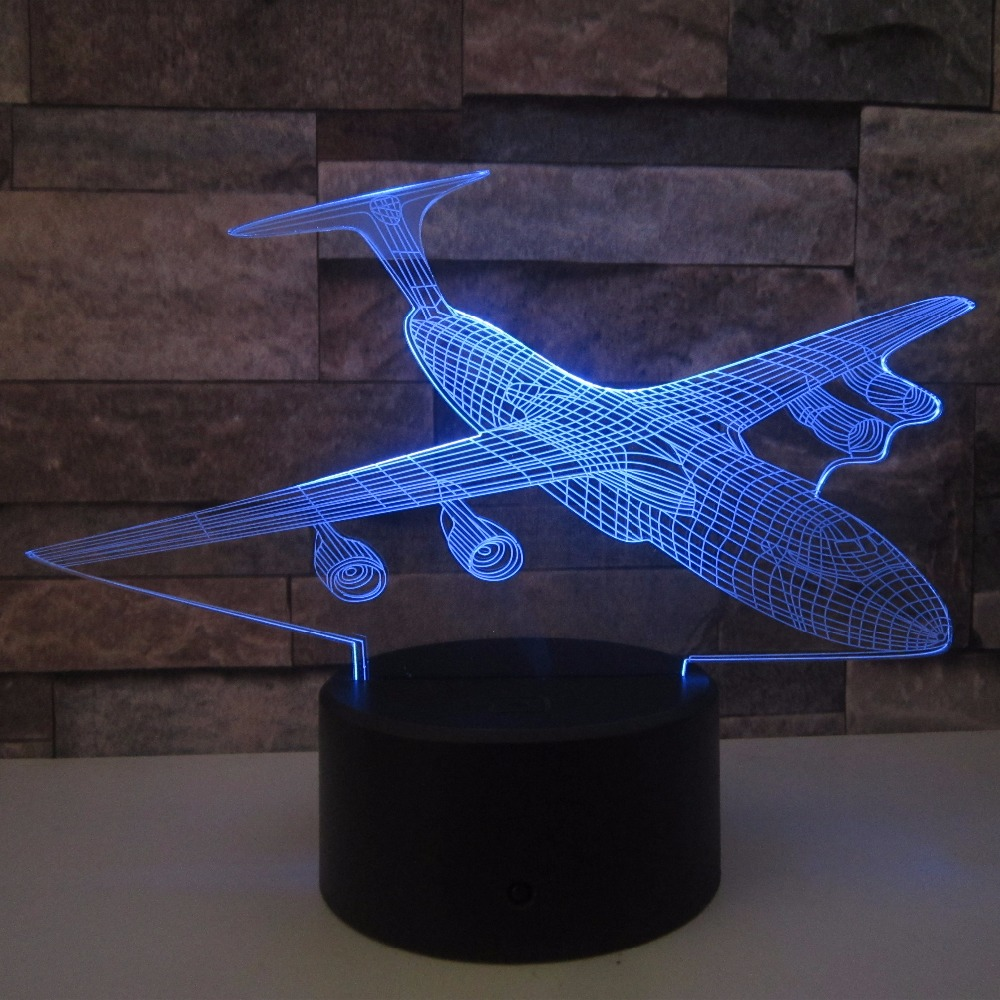 Aircraft 3D Night Light LED Remote Touch Airplane Table Lamp Fighter 3D Lamp 7 Color Changing AA*3 Batteries USB Indoor Lamp цена