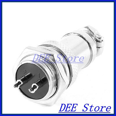 AC 220V 20A GX16 16mm Screw 2 Pin Metal Aviation Connector Plug