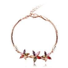 Summer Flower Bracelet Women Fashion Rose Gold Plated Micro insert  AAA Multicolor CZ Flower Zircon Chain Bracelet Bangles