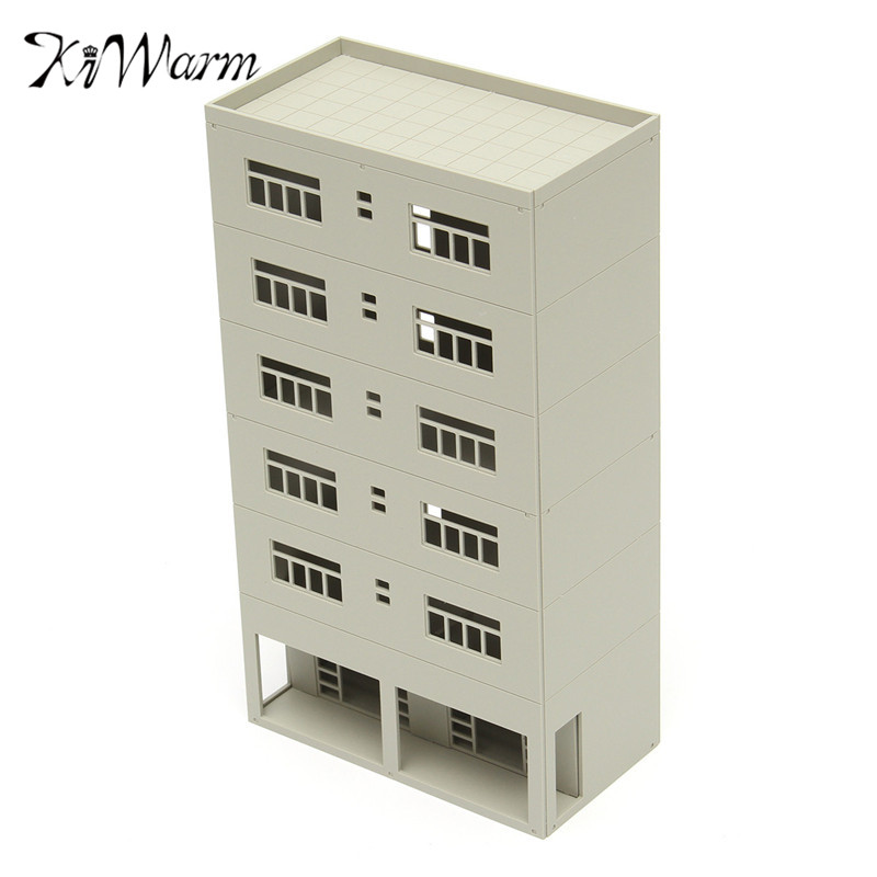 KiWarm New 1/87 White Models Modern 6-Story Business Office N Scale FOR Outland Models Train Railway Layout Building Ornament