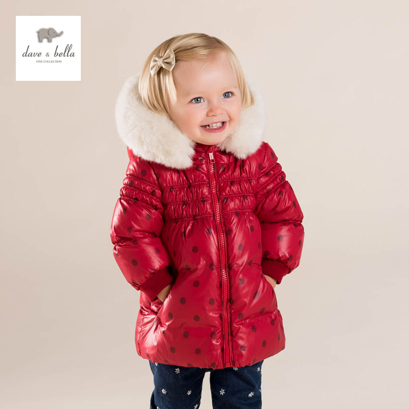 DB4083 dave bella baby girls cute baby red dot hooded padded coat outerwear down jacket