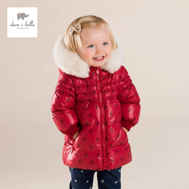 DB4083 dave bella bebê meninas bonito do bebê red dot com capuz casaco acolchoado para baixo outerwear jaqueta