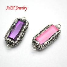 8b46ff4edccb 10 unids nueva llegada joyería Conectores 12x32mm rosa púrpura cristal  Colgantes rhinestone pavimentado moda DIY