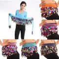 Colorful Sequin Belly Dance Hips Scarf Chiffon Skirt Wrap Gold Coin Waist Belt