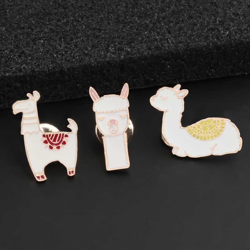 Cute Kawaii Alpaca Domba Llama Pin Kartun Hewan Bros Logam Lencana Jaket Kerah Pin Koleksi Perhiasan Hadiah untuk Anak Perempuan
