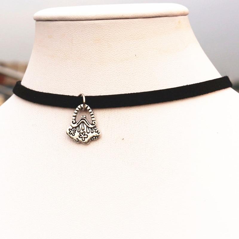 143a0181a248 NK970 nuevo kolye amor gótico vintage plateado bolsa collares bijoux para  las mujeres joyería choker Collier colar caliente