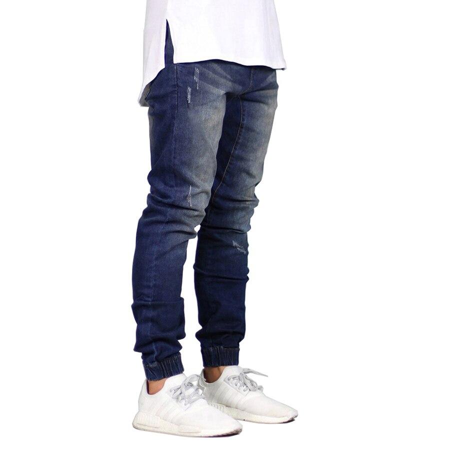 Модные Для мужчин Jogger Джинсы для женщин стрейч хип-хоп бегунов джинсы для Для мужчин E5008