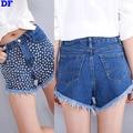 Calça Jeans da moda Rebite Das Mulheres 2016 de Alta Qualidade Jeans Mulher Sexy Calças borla Shorts Jeans de Algodão Azul Jeans Mulheres Por Atacado Grande XL