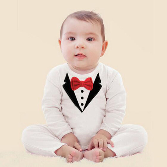 709add4499ac New Baby Boy Gentleman Jersey Suit long Sleeve Small Wedding Suit Jumpsuit  Tuxedo Christening Formal Romper