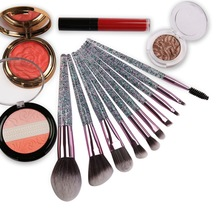 10 Pcs Acrylic Glittering Purple Tubes Makeup Brushes Set Diamond Highlighter Concealer Eye shadow Powder Make up Brush