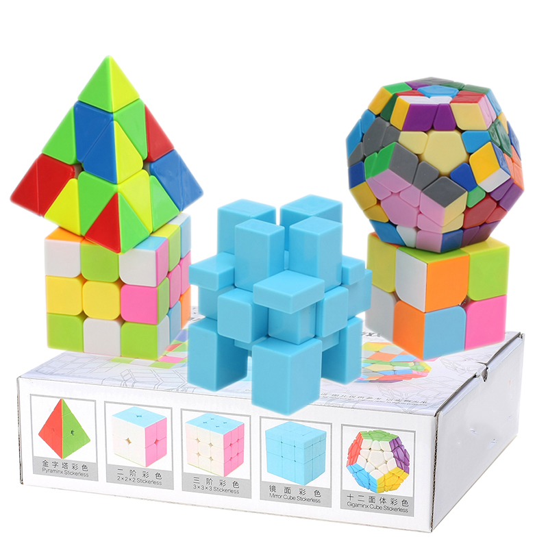 5 pièces/ensemble coloré 2x2x2 & 3x3x3 Cube magique Triangle & Dodecahedron & miroir Cube vitesse collante Puzzle jouet cadeau (S8