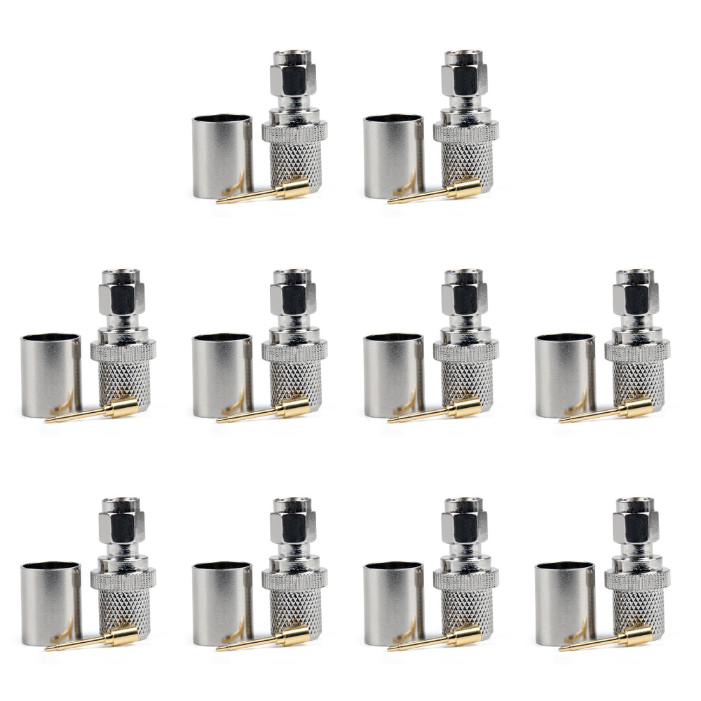 Areyourshop Connector SMA Male Crimp RG8 RG213 LMR400 RG214 Cable Straight Gold Plated 10PCS High Quality Plug Jack Connector areyourshop hot sale 10pcs adapter n jack female to sma male plug rf connector straight ptfe nickel plating gold plating