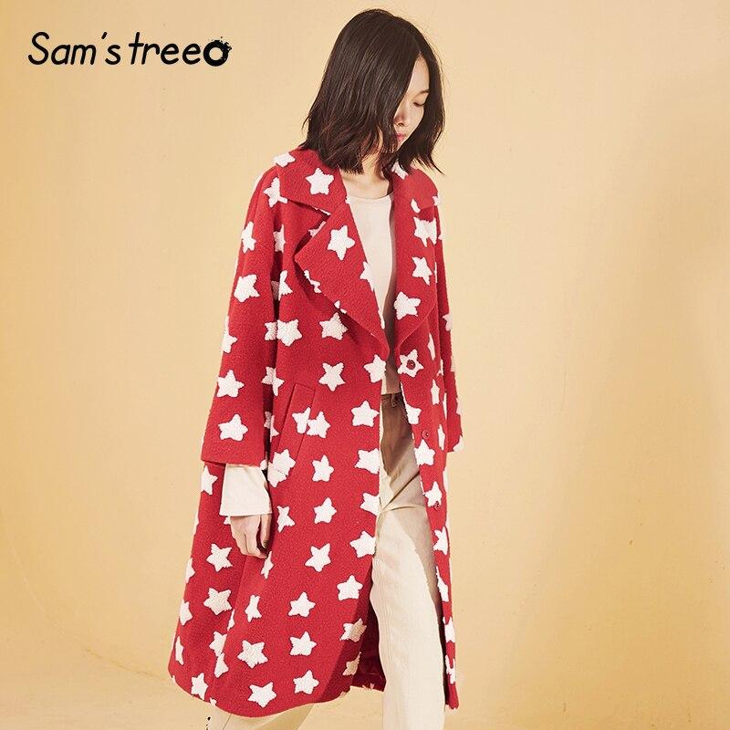 Samstree Winter Frauen Blends Mantel Drop schulter Sterne Druck Breite taille Weibliche Harajuku Lange Mantel Outwear-in Wolle & Mischungen aus Damenbekleidung bei  Gruppe 3
