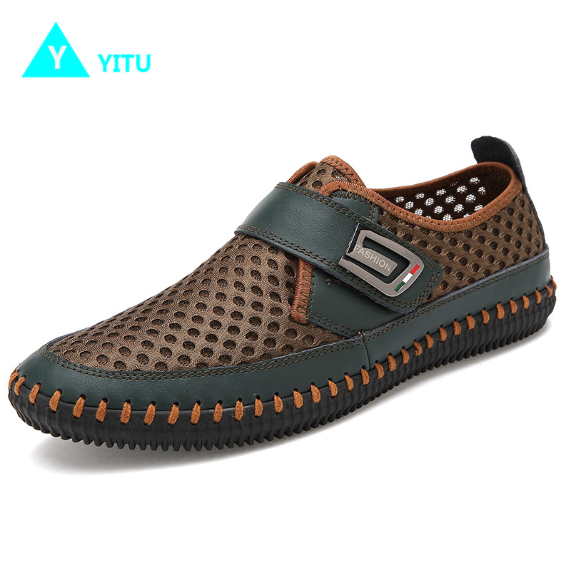 YITU Mens Summer Sneakers Outdoor Big Size Breathable Mesh Sports Shoes Men Trekking Ant ...