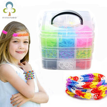 New 4500 unids 15 Colors DIY rainbow color rubber band bracelet gift box Small three-layer weaving machines Knitting Toys WYQ(China)