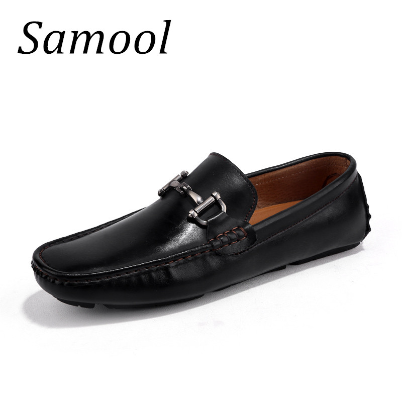 Top Äkta Läder Slip On Lofers Män Casual Shoes Fashion Köra Mjuka - Herrskor - Foto 1