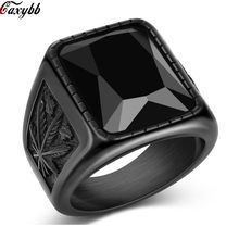 Men Hip Hop Ring 316L Stainless Steel Black/Red Crystal Stone Rings Rock Gothic Fashion Male Boho Jewelry US SIZE 7-13(China)