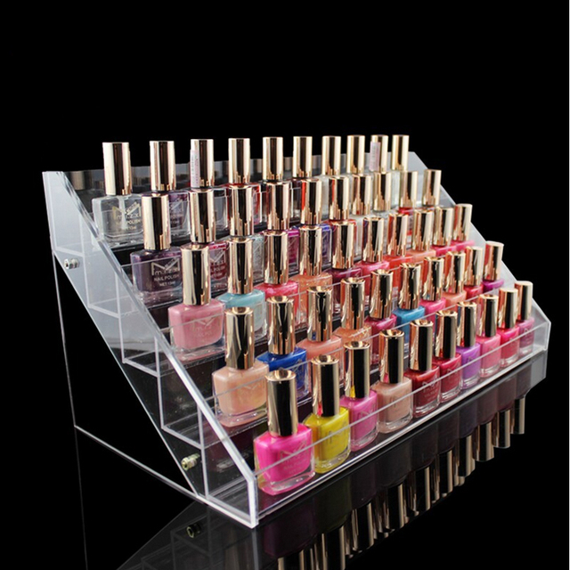 Fashion 5 Tiers Removable Nail Polish Shelf Acrylic Clear Cosmetic ...
