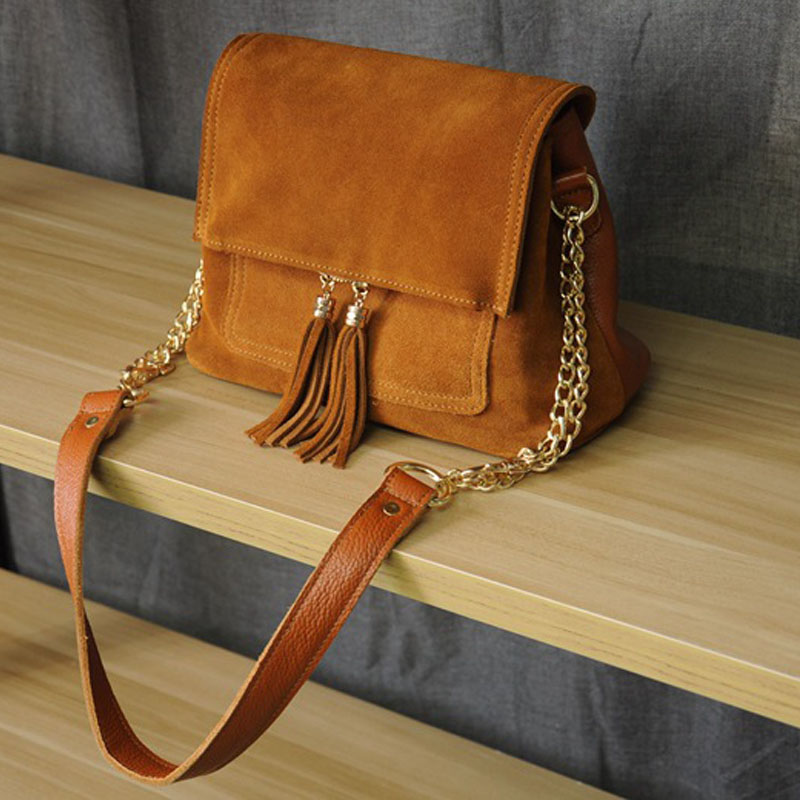2018 New Women's Genuine Leather Bag Suede Fold Over Nubuck Leather Crossbody Bag Chain Strap Vintage Tassel Small Hippie