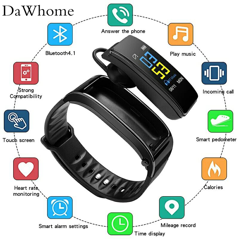 Y3 Bluetooth Smart Watches + Headset Call Color Screen Intelligent Bracelet Heart Rate Monitor Walking Fitness Tracker Wri