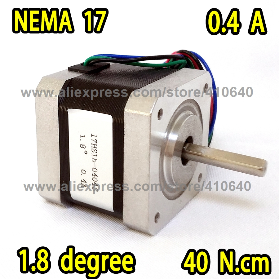 3D Printer or Robot Stepper Motor 17HS15-0404S L 39 mm Nema 17 with 1.8 deg 0.4 A 40 N.cm and bipolar 4 lead wire free shipping stepper motor 14hm08 0404s nema14 with 0 9 deg 0 4 a 4 n cm with bipolar and 4 lead wires