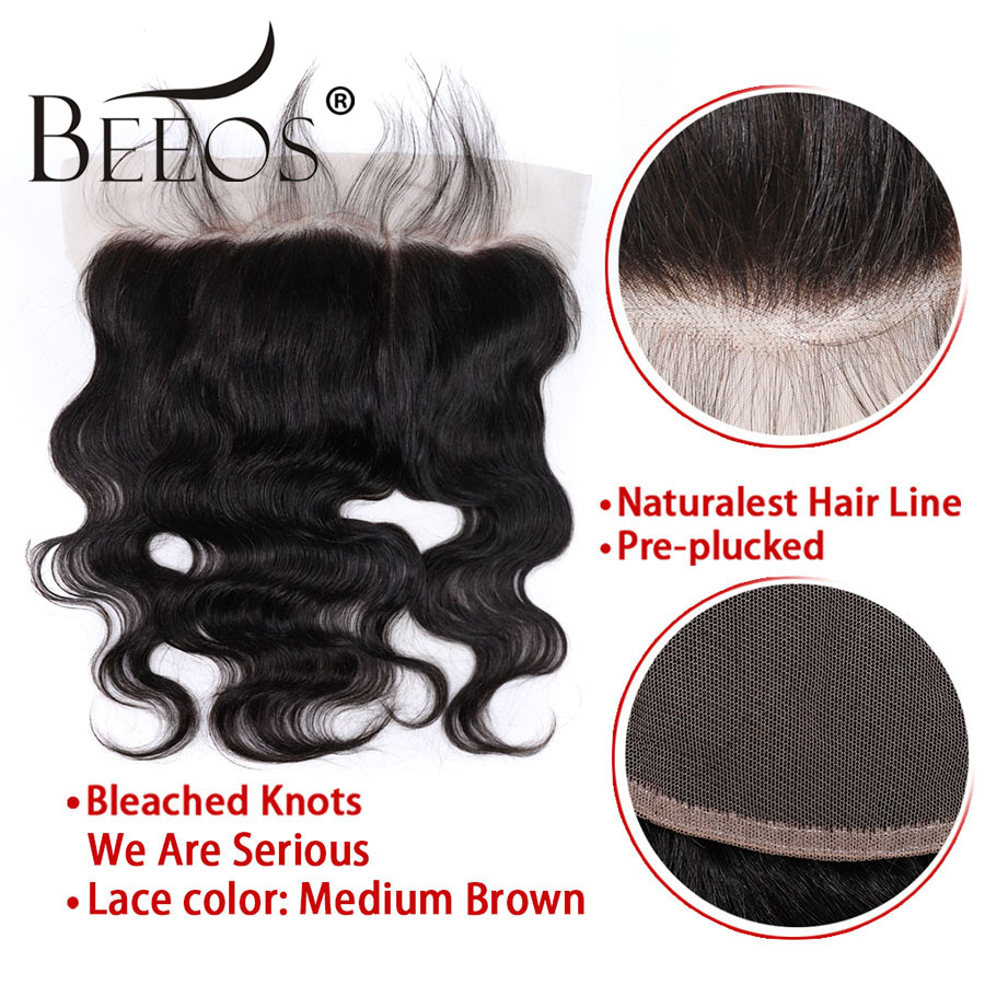 Image 5 - Beeos Deep Part Ear to Ear 13x6 Lace Frontal Closure 8 20inch Brazilian Remy Human Hair Frontal Pre Plucked Bleached Knots-in Closures from Hair Extensions & Wigs