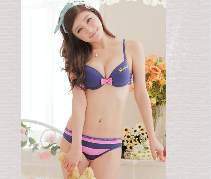Hot Sale Sexy Japanese Style Cute Young Girl Adjustable Push Up Bow Cotton Bra Sets Comfortable  D  D A Hot Sale Sexy Japanese Style Cute Young Girl Adjustable