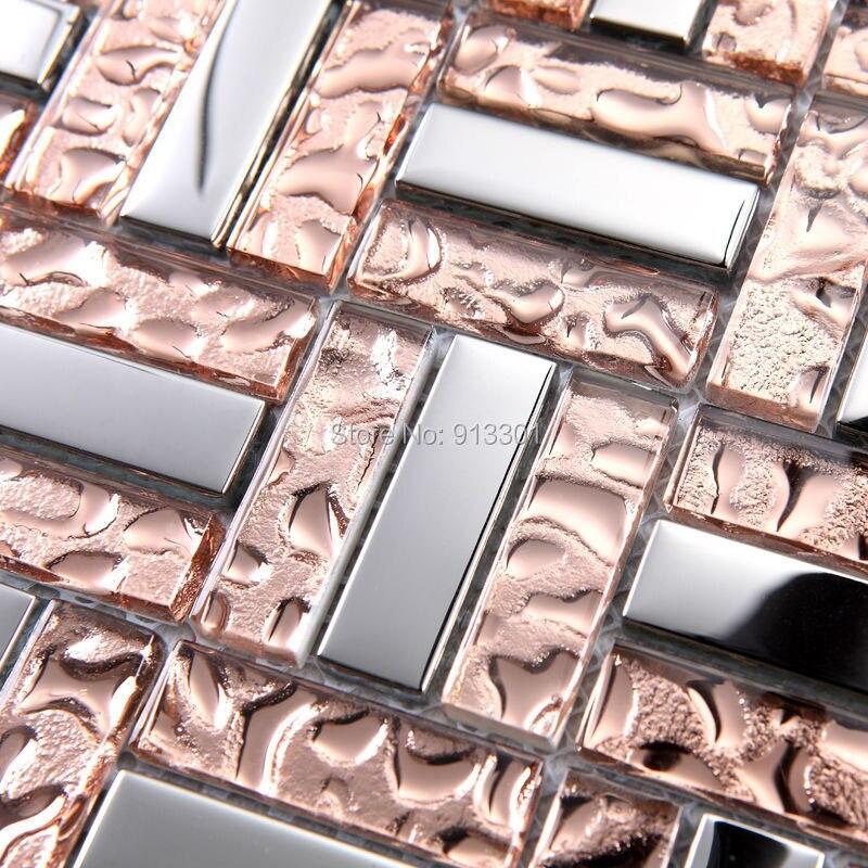 Crystal glass mosaic tile deco mesh kitchen backsplash for Installing glass tile with mesh back