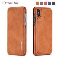 Étui pour iphone 11 Pro XS MAX X XR 8 7 6 6s plus étui de luxe en cuir pour téléphone porte-carte étui de protection magnétique 8 Plus
