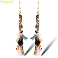 2015 Top Quality Natural Pearl Multicolor Crystal Long Women Chandelier Earrings Handmade