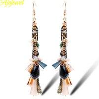 2015 Top Quality Natural Pearl Multicolor Crystal Long Women Chandelier Earrings Handmade