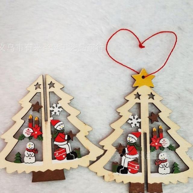 3fc705b9ab9c De Madera de Navidad árbol de Navidad decoraciones para el hogar jardín  fiesta suministros árbol de