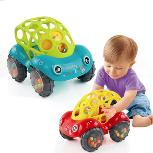 New Fashion 1-Piece Rattle And Roll Car Assorted Colors O Ball Play Toy Kids Game Toddler 3E24
