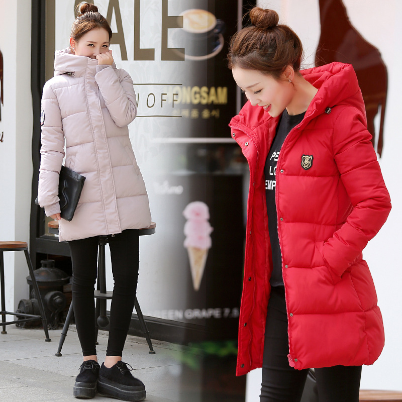 Latest Autumn Winter Hooded Down Jacket  women High Quality Padding Polyester Cotton Feather Fashion Slim Big Yards E011 2017 autumn winter women cotton jacket women knitted hat black cotton jacket high quality casual comfort clothing ls146
