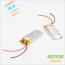 3.7V 280mAH 601336 061336 lithium Polymer battery for GPS mp3 mp4 BLUETOOTH earphone shadow pen video recorder transcript