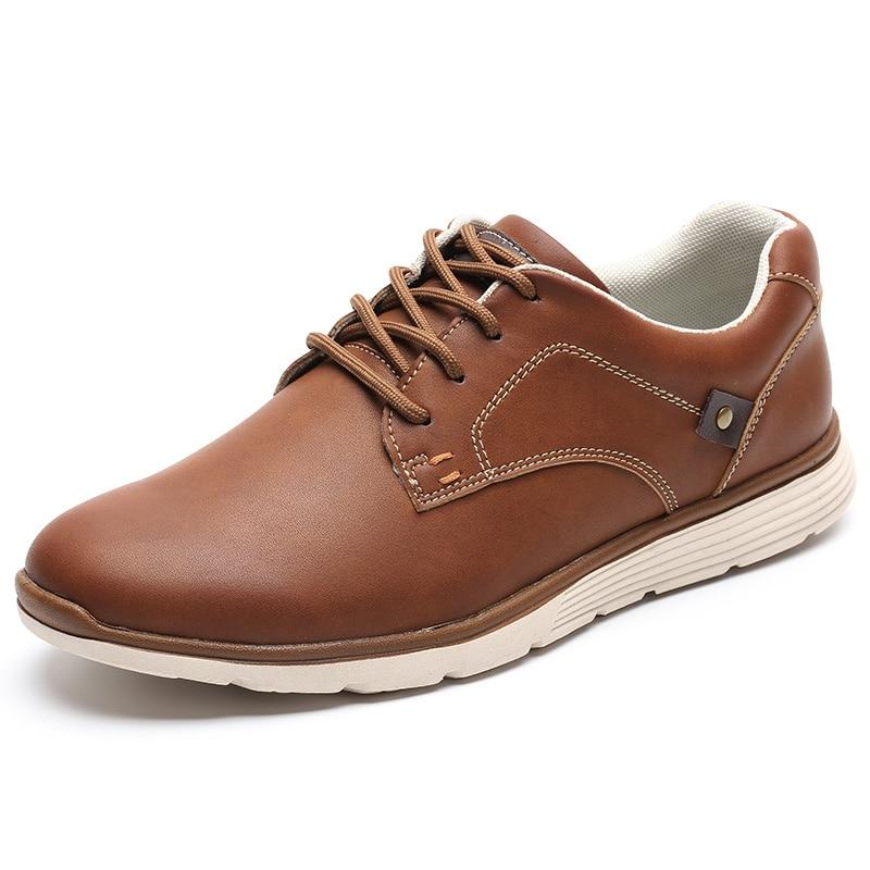 LINGGE Мужской обувь Высокое качество искусственная кожа Русский размер 39-46 кроссовки мужские Мужская повседневная обувь легкий кросовки мужские#IL007-2 - Цвет: Brown